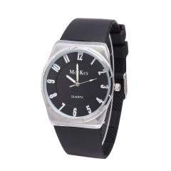 Ultra Thin Female Models Fashion Silica Gel Watch Roman Plate Digital Alloy Case Watch black