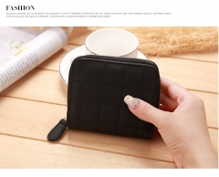 Mini Small Wallet Ms Zipper Lovely Coin Purse Student Short Section Embroidered Female Wallet black one size