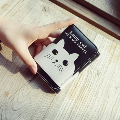 The New Cartoon Ms Short Section Wallet Card Pack Lovely Cat Fashion Coin Purse A one size