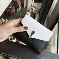 The New Wallet Female Short Section Student Small Fresh Multifunction Wallet Buckle Hand Bag black one size