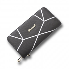 Ms Geometric Patterns Wallet High Capacity Hand bag Fashion Zipper Letter Coin Purse black one size