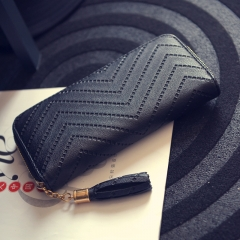 Ms Simple Personality Wallet Long Section Hand Bag Student Wallet Zipper Wallet Mobile Phone Bag black one size