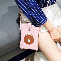 Lady Bags Mini Lovely Cartoon Mobile Phone Bag Leisure Trend Shoulder Oblique Cross Ladies Bag pink one size