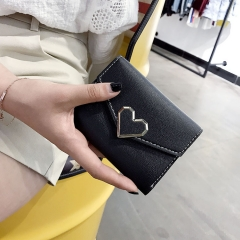 Heart Wallet Female Short Section Student Small Fresh Multifunction Wallet Trend Buckle Hand Bag black one size