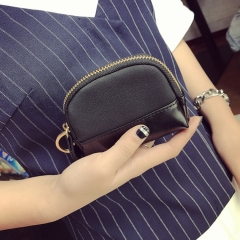The New Retro Simple Short Section Wallet Female Western Style Zipper Coin Purse Coin Bag Key Bag black one size