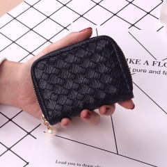 Ms Small Fresh Coin Bag Simple Weave Coin Purse Zipper Small Wallet Short Section Card Pack black one size