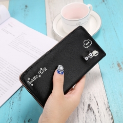 New product Ms Student lovely Cat Letter Long Section Fashion Leisure Hand Bag Wallet black one size