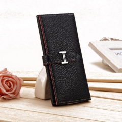 New Product Three Fold Wallet Long Section Coin Purse Fashion Ms Wallet H Buckle Hand Bag black one size