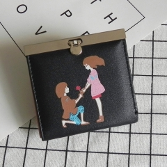 Ms Coin Purse  Female  Cartoon Lovely Graffiti Female Short Section Coin Bag Wallet black one size