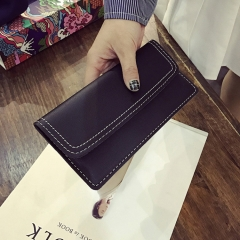The New Ms Wallet Long Section Simple Fashion Wallet Multi-card Bit Soft Skin Coin Purse black one size