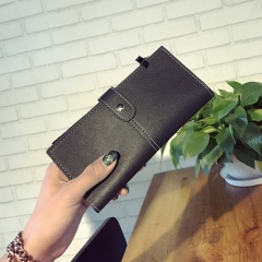 Wallet Female Long Section Student Retro Personality Envelope Simple Buckle Ultra Thin Wallet black one size