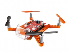 2.4G Building Blocks Assembly Aircraft Puzzle Assembled DIY four axes toy remote control UAV orange 15*15*3.5