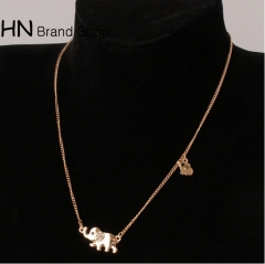 HN Brand-1Pcs/Set New Beautiful Metal Crystal element 2 elephants Alloy Necklace For Women Jewellery gold one size