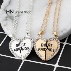 HN Brand-1 pair/Set New Beautiful Fashion best friends Heart Pendant pendant alloy Diamond necklace gold perimeter:46cm