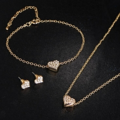 HN-4 piece/Set New Fashion Crystal Love Earrings Bracelet Set Necklace pendant jewelry wholesale gold as picture