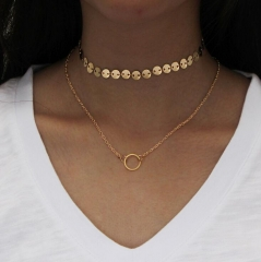 HN-1 piece/Set New Fashion Double Necklace Women Jewellery Gift gold as picture