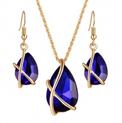 HN-3 piece/Set New Fashion Wedding premium water drop Austria crystal Zircon Earrings Necklace Women gold+ blue as picture