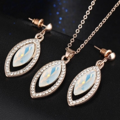 HN-3 piece/Set New Fashion exaggerate Crystal Bridal Necklace Women Jewellery gold as picture