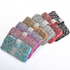 Luxury TechJumbo Sparkly iphone wallet case cover for iphone6, 6plus, 7, 7 plus blue 7+