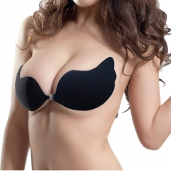 C/D Cup Women Sexy Push Up Bra Self-Adhesive Bust Front Closure Strapless Invisible Women's Bra black C