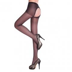 Usexy Sexy Lady Women Fashion  Open Crotch Soft Thin Tights Elastic Pantyhose Stockings Black black f