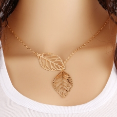 Usey Gold And Sliver 2 Leaf Pendants Necklace Chain multi layer statement necklaces Woman silver golden f