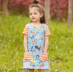 A shape fashion cotton dress skirt with flower butterfly and animals for girls blue 2T