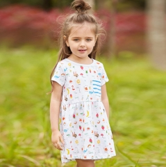 Cute Children's Soft Cotton Fashion dress Skirt with Pattern for Girls White 2t