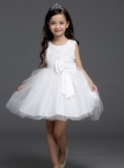 Senior Princess Dress Sleeveless Rose Flower Girl Dress Round Neck with Removable Butterfly Tie white 100