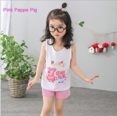 Cute Sleeveless Cotton suit T-shrit with shorts for girls and boys home clothes Pink Pappe Pig 80cm