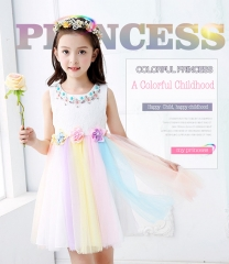 Little Girl Princess Dress necklace and rainbow hem Party Birthday Wedding Dress for kids Clothes White and Colorful 110
