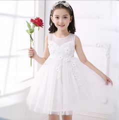 Lovely Baby Pageant Princess Dress for Kids Little Girl Party Wedding Birthday Dress Tutu Clothes white 110