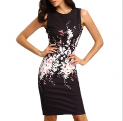 Fashion Sexy Summer Women Dress with Flower on Waist Sleeveless Ladies Office Dress Female Clothes Black S