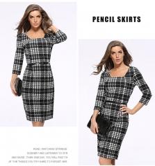 Casa Lasa Women Office Lady OL Elegant Fashion Pencil Dress Square Collar with Belt for Female black s