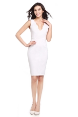 Casa Lasa Sexy White Slim Evening Dress Women Party Fashion dress for OL Female #1 Style s