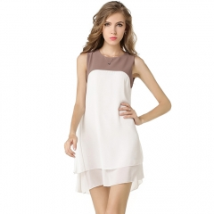 Casa Lasa Women Splicing Doule Layer Chiffon Skirt Dress for Office Lady Elegant Girls White s