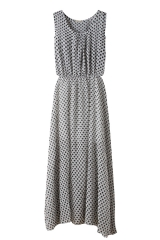 Casa Lasa Women Chiffon Wavelet Point Dress Summer Holiday Long Female Dress Sleeveless for Ladies white s