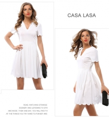 Casa Lasa Female Deep V Collar Women Sexy Dress Skirt for Office ladies Holiday Party Short Sleeve white s