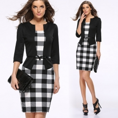 Women Elegant Office Lady Skinny Slim Fashion Hip Package Pencil Dress  3 quarter sleeve with Belt black s