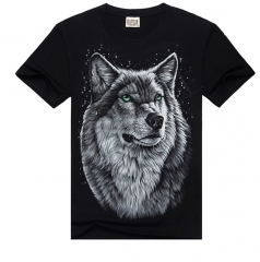 Men's 3D Print Soft Cotton High Quality Black T Shirt with Lifelike Cartoon 3D Print Wolf Head m