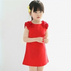 Lovely Sleeveless Little Girl A shape Dress with Flower design on shoulder for kids Cute Clothes Red 100