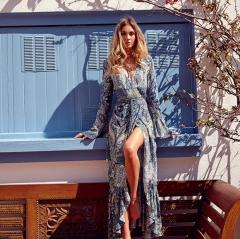 Casa Lasa Women Sexy Holiday Floral Print Dress Long Sleeve Deep V Collar  Dress for Girls Ladies Floral Print xxxl