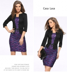 Casa Lasa Elegant Women Dress Slim Skinny Pencil Skirt Package Hip Office Lady Skirt with Belt Purple Floral s