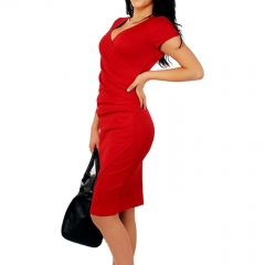 Casa Lasa Women Sexy Deep V Slim Package Hip Dress Skinny Short Sleeve Lady Skirt with Wrinkle red s