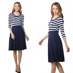 Casa Lasa Women Elegant Round Collar Girl Dress with Strip Pleated Lady Skirt blue s