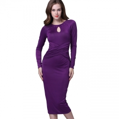 Women Elegant Long Sleeve Pencil Dress Hollow Out Hip Package Office Lady Fashion Skirt Female Dress purple s