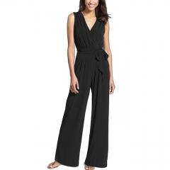 Casa Lasa Women High Waist Jumpsuit Elegant Office Lady Wide Leg Suit Sleeveless Rompers Lady Dress Black S