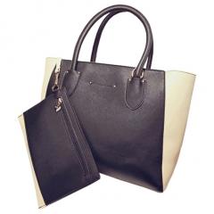 Toofn Handbag 4 Colors Fashion Women Casual Tote Bag PU Leather Handbags Black