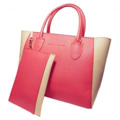 Toofn Handbag 4 Colors Fashion Women Casual Tote Bag PU Leather Handbags Pink
