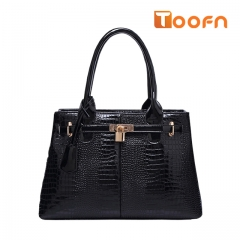 Toofn Handbag 3 Color  Women Fashion Style Zipper Handbag Black F